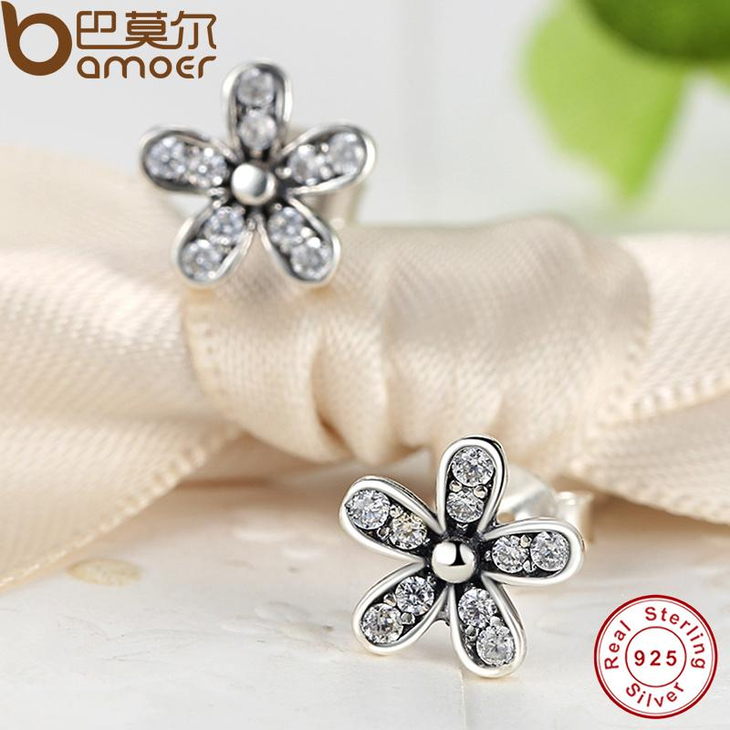 6bde203f43f97 BAMOER Authentic 925 Sterling Silver Dazzling Daisy Stud Earrings With Clear  CZ ...