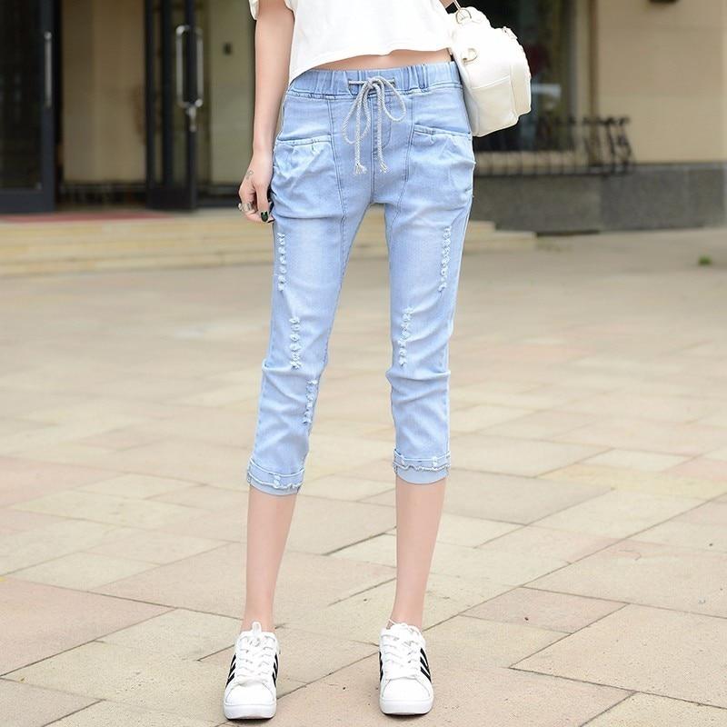 High Waist Denim Pant Womens Casual Ripped Hole Jeans 2017 Vintage Washing Loose Thin Summer Capri Pants  F196