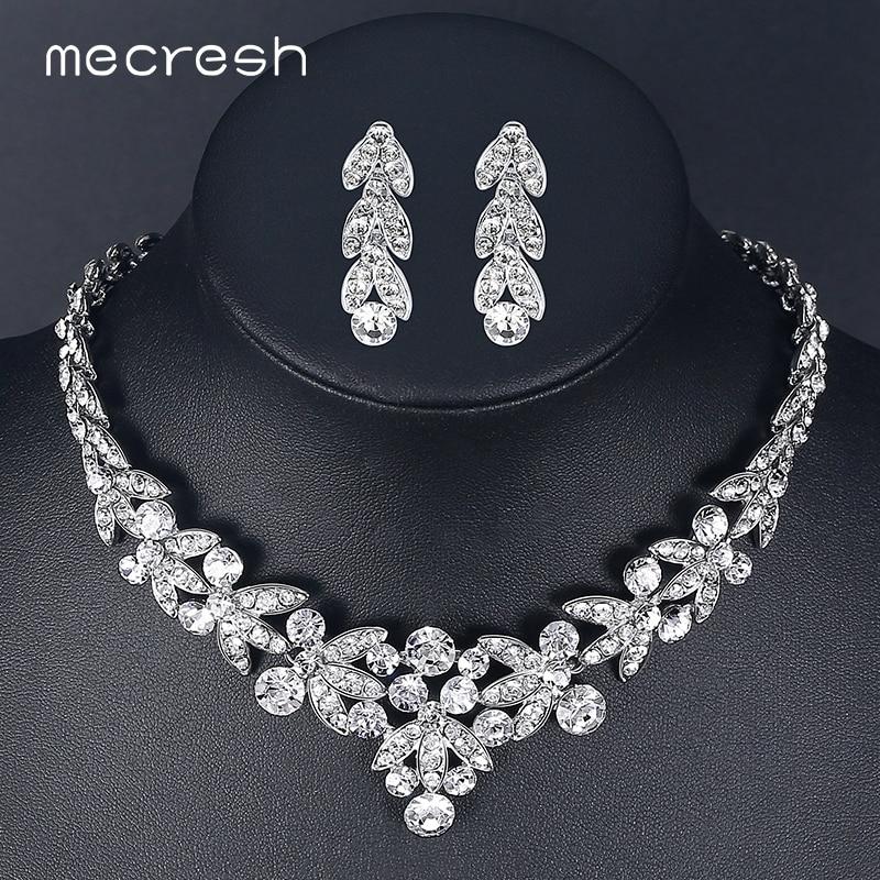 QualitäT Mecresh Luxuriöse Kristall Brautschmuck Sets Für Frauen Silber Farbe Weizen Afrikanischen Halskette Sets Hochzeit Schmuck Tl206 üBerlegene In