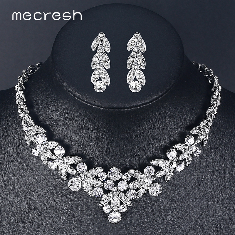 Mecresh Luxurious Crystal Bridal Jewelry Sets for Women Silver Color Wheat African Necklace Sets Wedding Party Jewelry TL206 mecresh attractive geometric bridal bracelets for women silver color crystal link party ladies pulseras wedding jewelry msl339