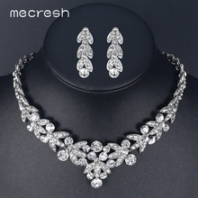 Mecresh Luxurious Crystal Bridal Jewelry Sets for Women Silver Color Wheat African Necklace Sets Wedding Party Jewelry TL206