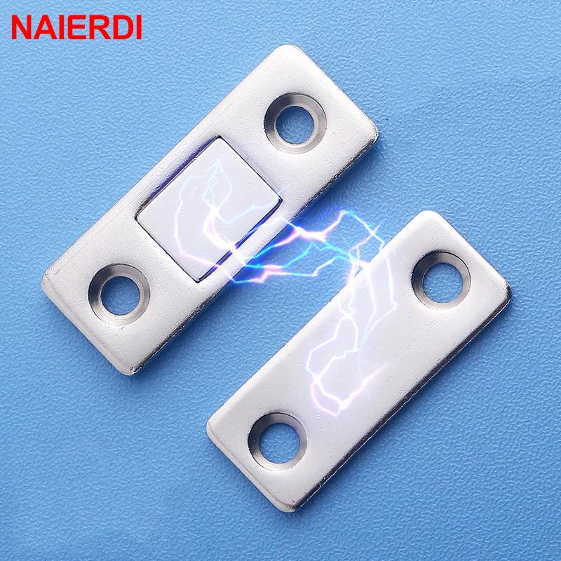 NAIERDI 2pcs/Set Magnetic Cabinet Catches Magnet Door Stops Hidden Door Closer With Screw For Closet Cupboard Furniture Hardware