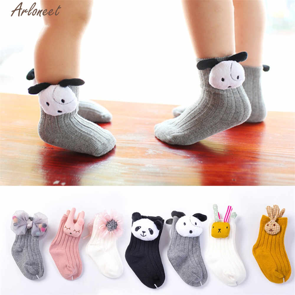 ARLONEET Socks Baby Girl Boy Soft Cotton Blend Sliper shoes Kids Cartoon Bow NEWEST Warm Anti-Slip Socks For Autumn And Winter