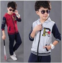 Осень мальчики спорт комплект два частей закрытый воротник вышивка eagle head пиджаки куртка + длинная брюки хлопок мальчики одежда комплект