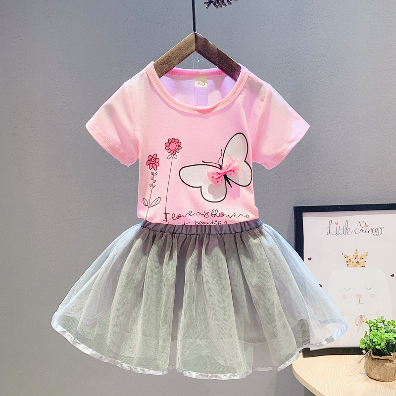 Girls clothing sets fashion summer children cotton cartoon 2pcs tops+skirts suits outfits
