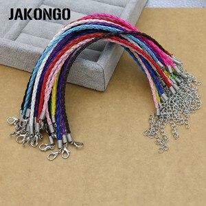 Кожаные плетеные браслеты JAKONGO, плетеные многоцветные браслеты «Лобстер», удлиненный веревочный браслет, аксессуары для ювелирных изделий ...