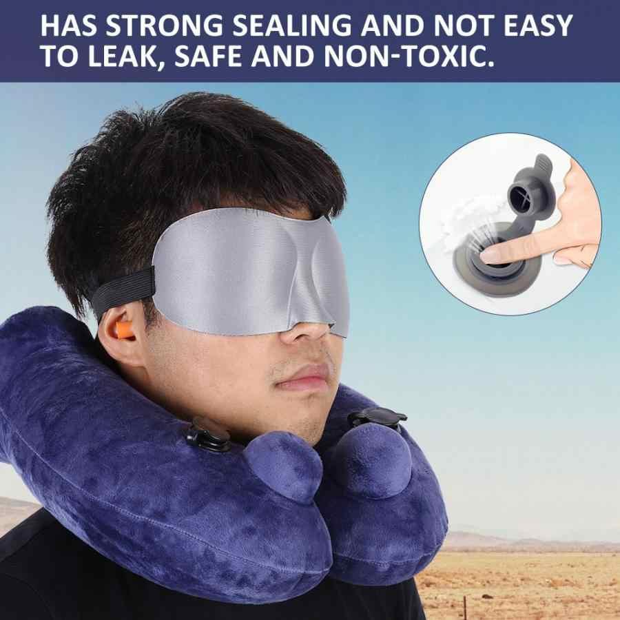 新しい字型旅行枕セット飛行機ポータブル飛行機ネッククッションアイマスクと耳栓のペア収納袋 11 ホット販売