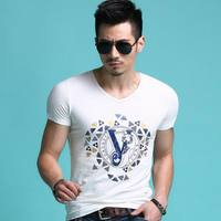 Summer Europe Men S New Print T Shirt V Neck Breathable Comfortable Short Sleeve Popular Brand