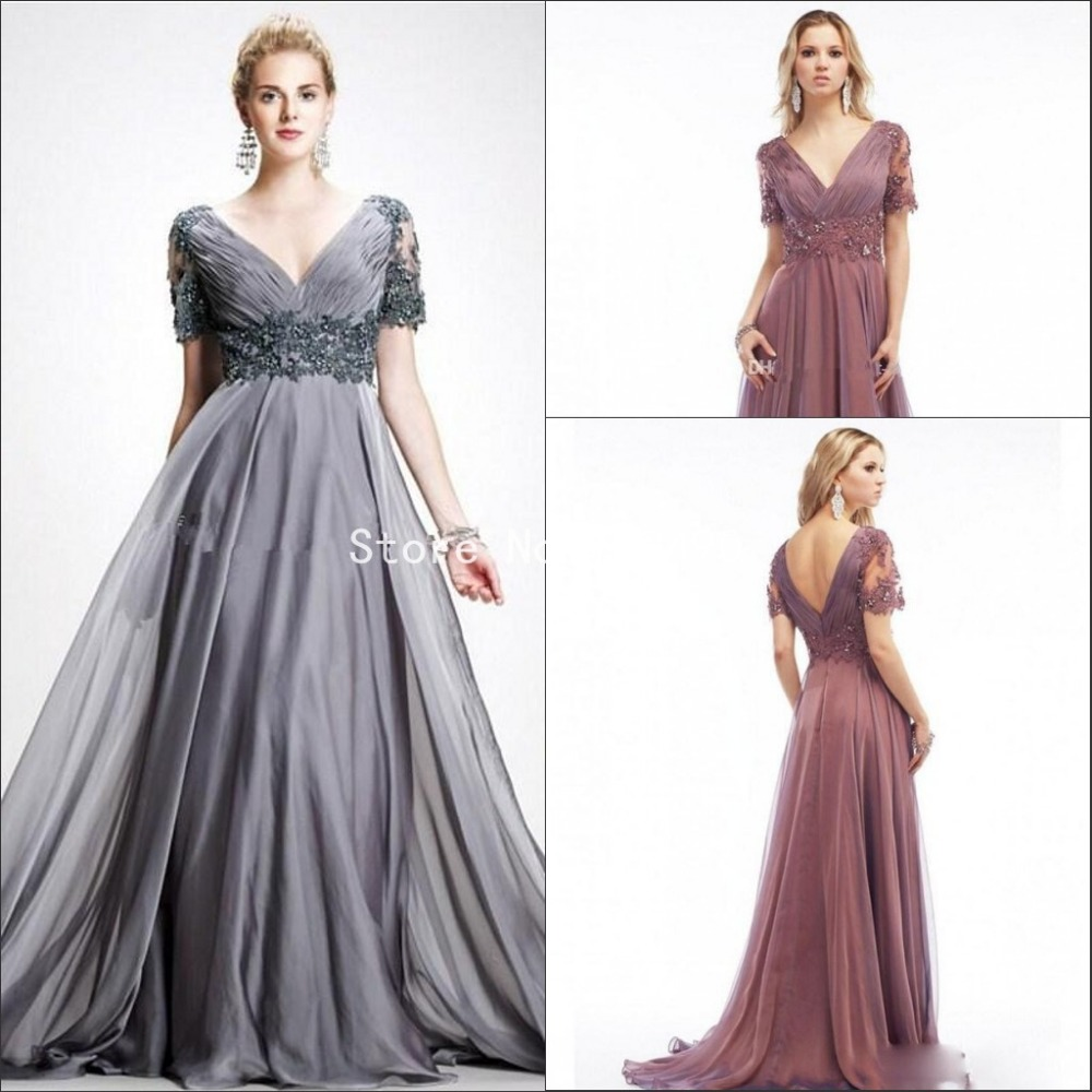 New Plus Size Mother Of The Bride Dresses Elegant Gray V