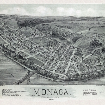 Old Map of Monaca Pennsylvania 1900 Beaver County Poster Print (36 x 54)