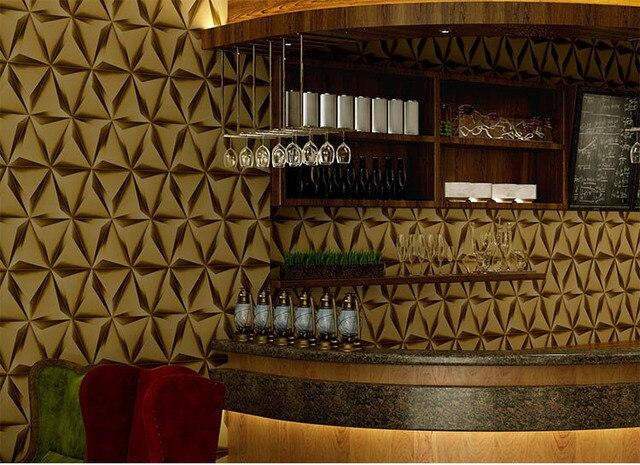 Modern 3D PVC Wallpaper Roll Diamond Design Wall Paper Retro Waterproof  Vinyl Background Wall Covering Golden dcf078eae3df