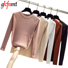 gkfnmt 2019 Autumn Winter Women Knitted O-Neck Sweater Soft Jumper Fashion Slim Femme Elasticity Pullovers Long Sleeve Sweaters