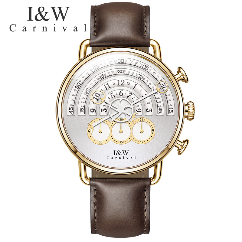 relogio masculino Brand Watches Carnival Men Chronograph Sports Quartz Watch Leather Wristwatches Sapphire Gold Case White Dial seiko watch premier series sapphire chronograph quartz men s watch snde23p1