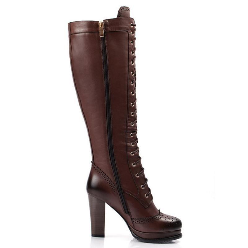 Botas marrón Caliente Dama Alto 43 Tamaño Mujer Hasta Mujeres Invierno Correa Negro Rodilla Moda Zapatos 33 Lebaluka De Cuero Tacón La Real Cruz BwIq66Zg