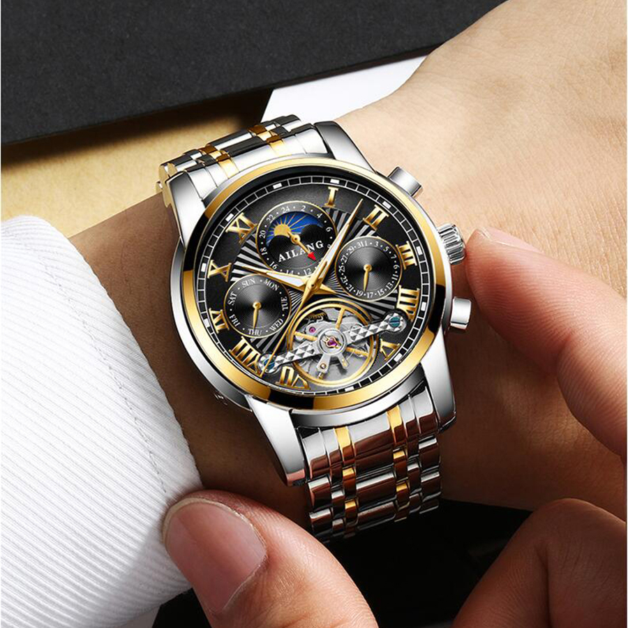 Fashion Tourbillon Stainless Steel Men Watch casual Waterproof Hollow Automatic mechanical Watches Classic Business Wristwatch mechanical watch seiko mineral business stainless steel automatic waterproof watch men fashion watches quality clock wristwatch page 5