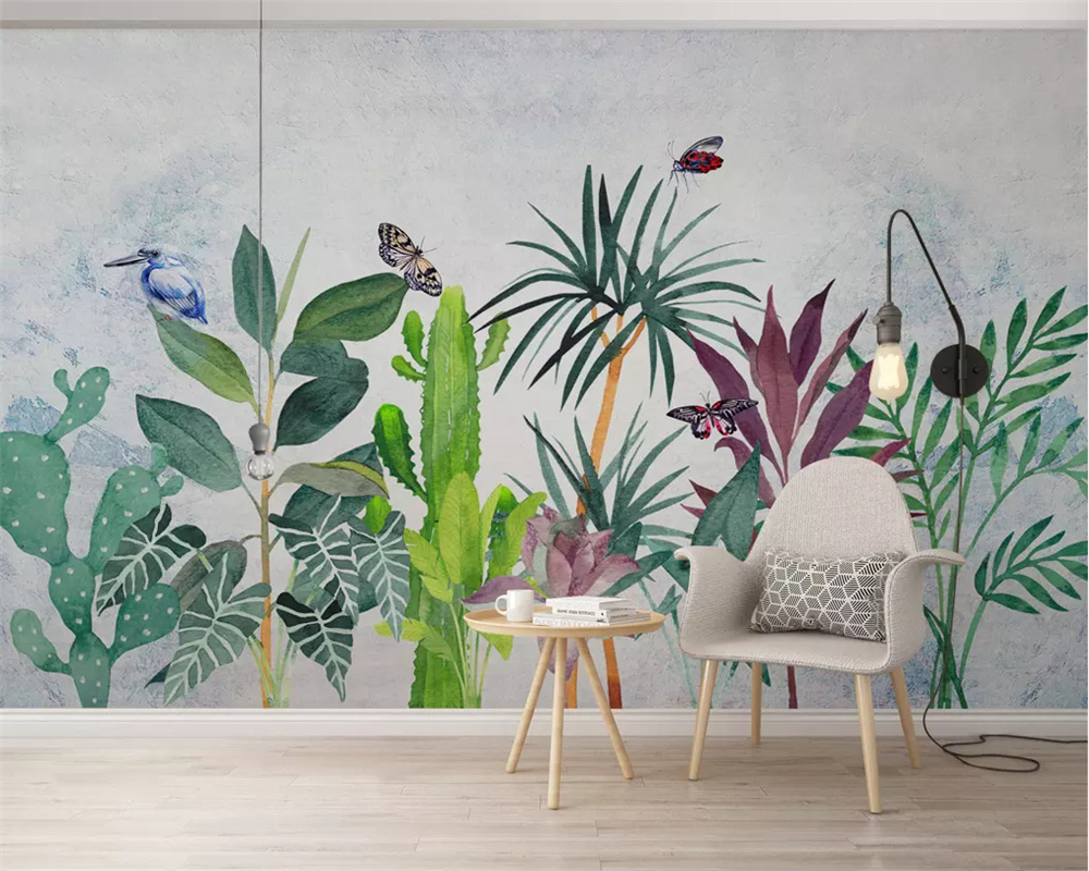 beibehang Custom wallpaper mural Plant hand painted watercolor tropical Hummingbird Modern home background wall 3d wallpaper in Wallpapers from Home Improvement