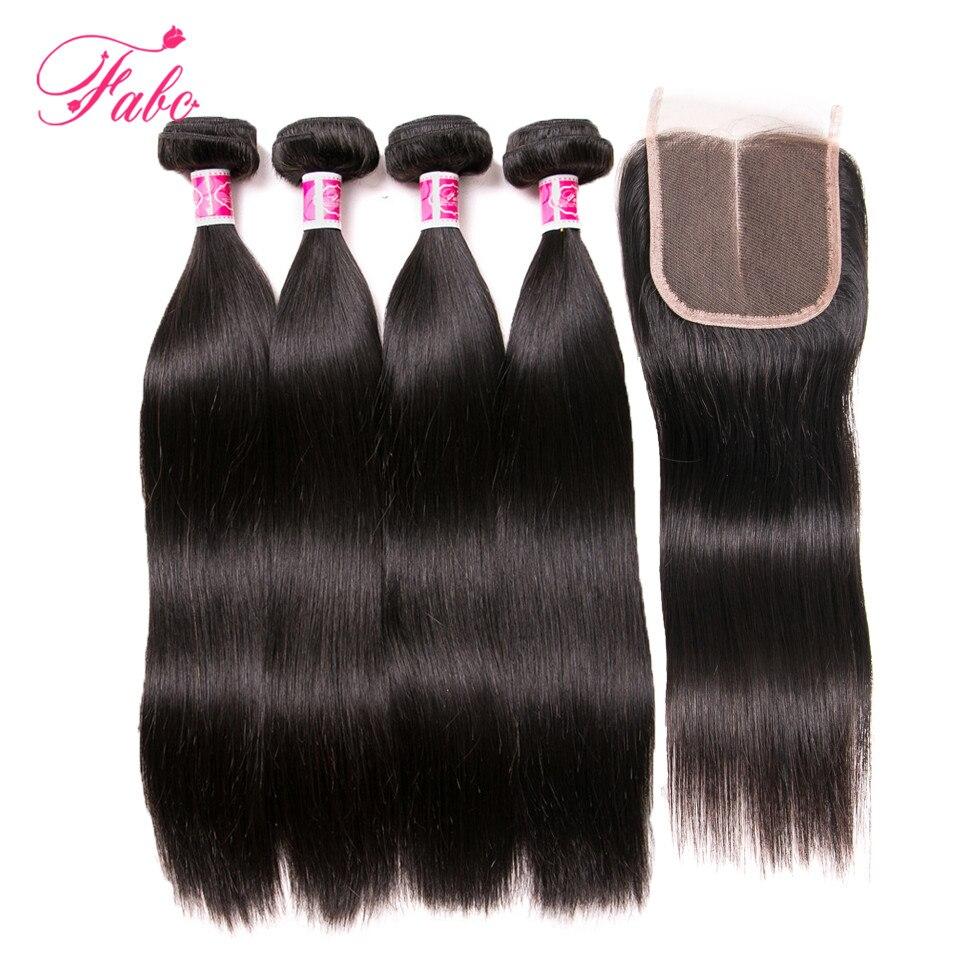 Fabc волос перуанский прямо 4bundles с закрытием кружева 4*4 не человеческих волос дважды утка натуральный черный можно покрасить 10-28 дюймов