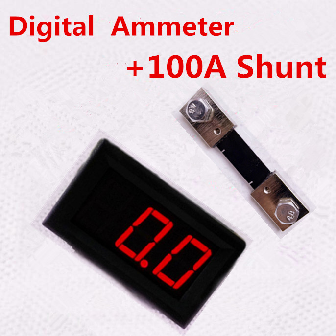 "0.56"" DC 0.0-100A 3 bit Digital Ammeter ampermeter Panel Amp Gauge Car current Monitor + 100A Shunt Resistor tester 20% off"