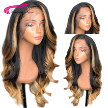 Carina 180 Density 360 Lace Frontal Wig Brazilian Ombre Color With Blonde Hightlights Lace Front Human Wigs Remy Hair