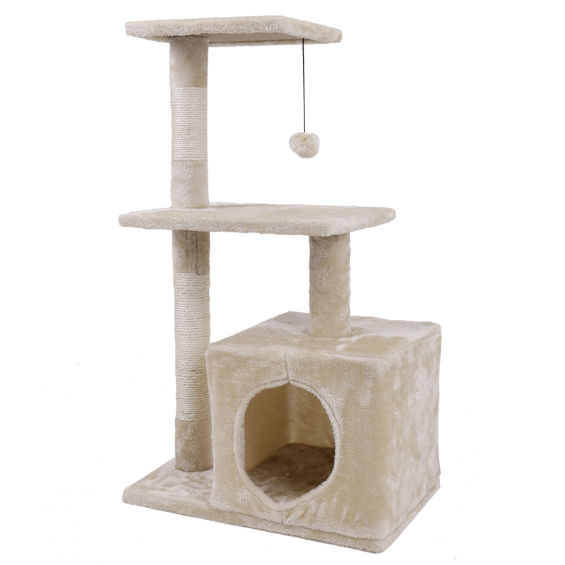 Domestic Delivery Cat Toy House Bed Hanging Balls Tree Kitten Furniture Scratchers Solid Wood For Cats Climbing Frame Cat Condos #6