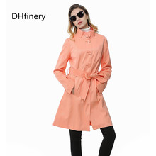 2018 Fashion women's medium-long intellectuality slim outerwear double layer chromophous preppystyle trench Red, orange v504
