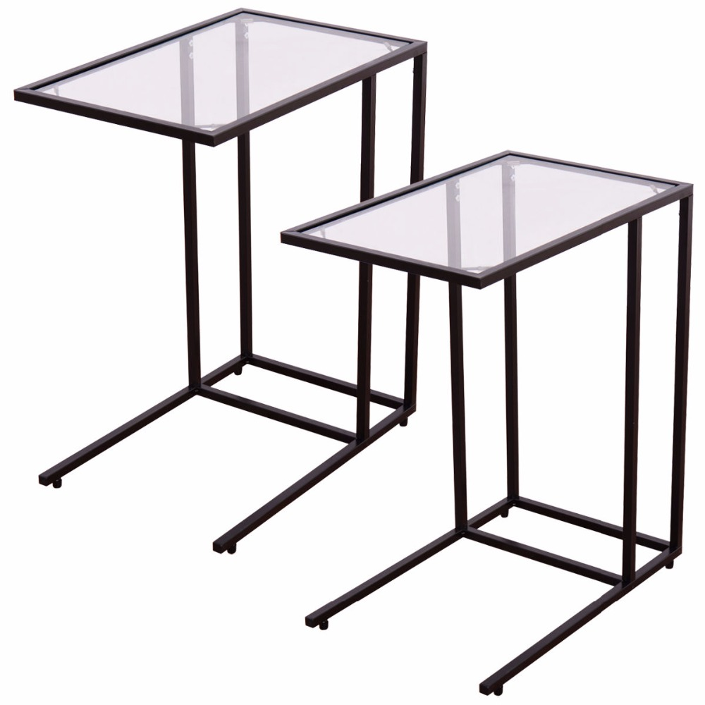 ФОТО 2PCS Coffee Tray Side Sofa End Table Ottoman Couch Stand TV Lap W/Glass Top  2*HW54104