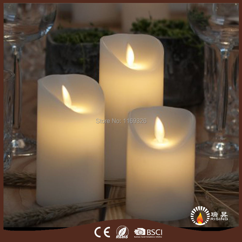 Christmas decor led pillar wax candles dancing wick flame battery operated candle light 2017 - Appealing christmas led candles for christmas decorations ...