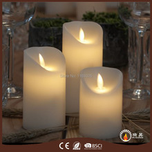 Christmas Decor. LED Pillar wax candles Dancing wick flame battery operated candle light 2017 LED candles dancing wick candles