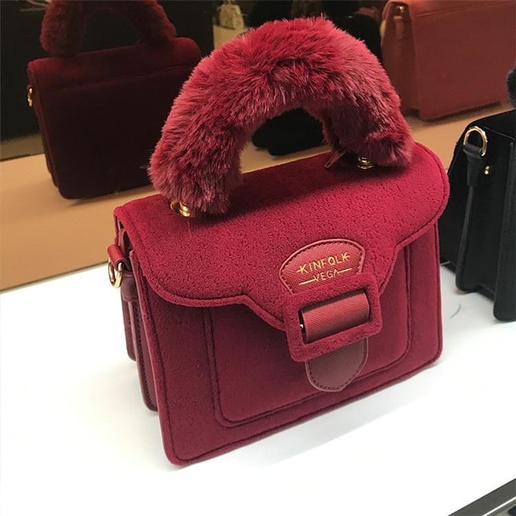 17 Christmas limited velvet suede handbag Samantha Vega plush handle organ shoulder bag Retro small flap square Messenger bag 22