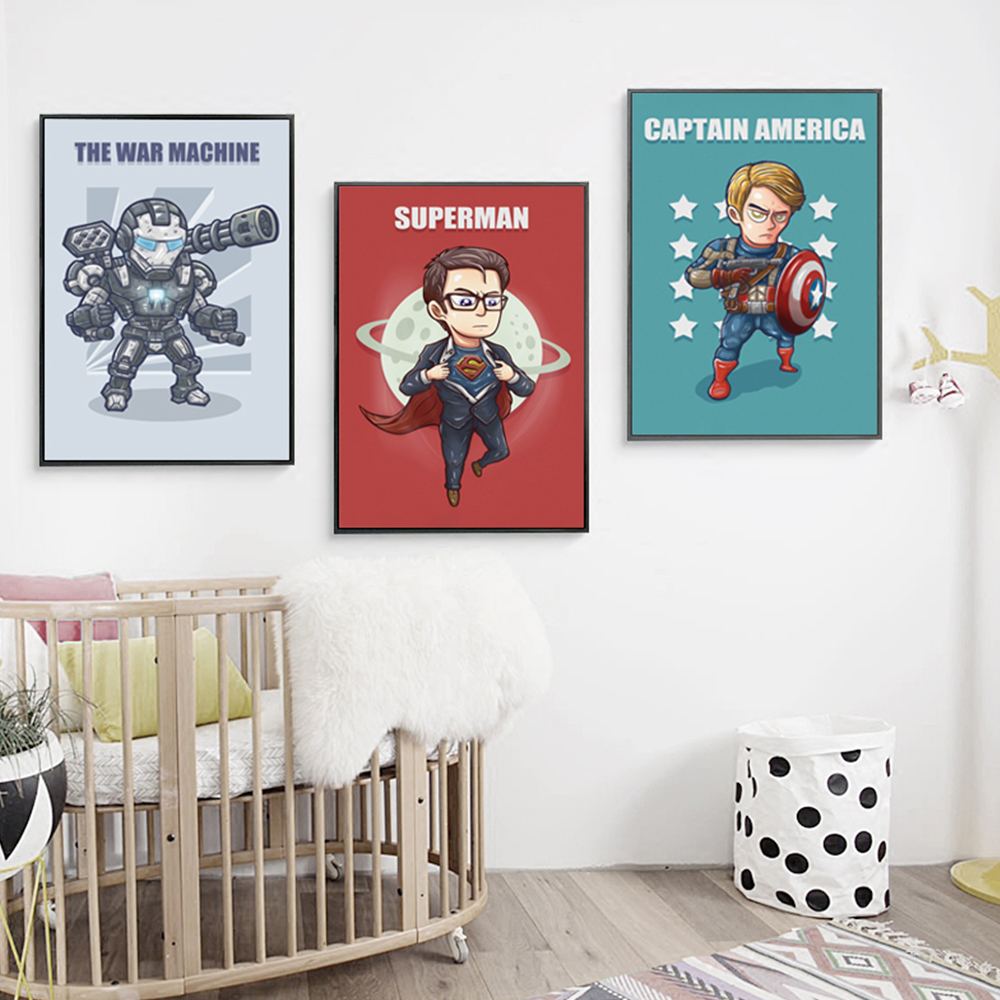 ... Superhero Cute Character Cartoon Marvel Comics Batman Captain America  Poster Printing A4 Canvas Art Childrenu0027s Bedroom ...
