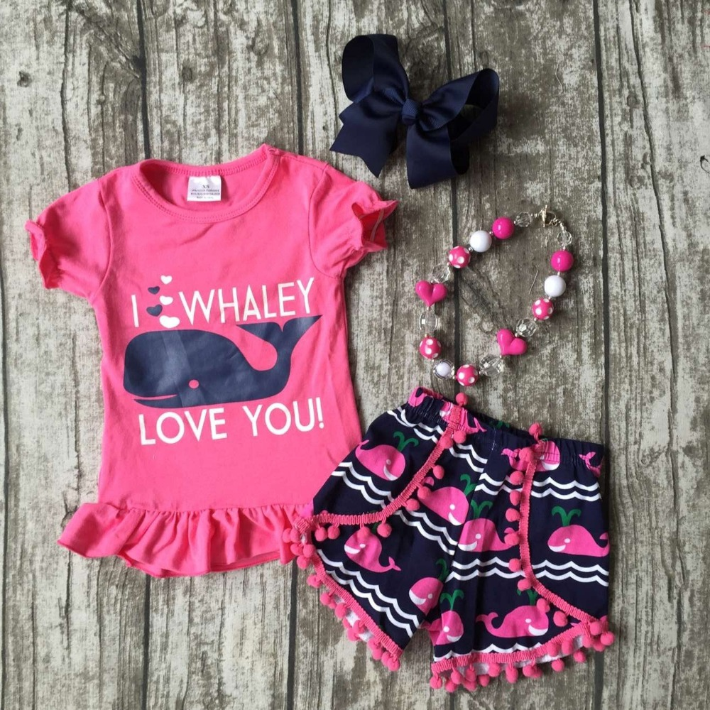baby Girls Summer clothes girls I love whale love you outfits baby childrengirls hot pink whale shorts Clothes with accessories