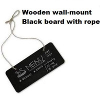 1pcs Lot NEW Small Wooden Wall Mount Black Board With Rope Wood Blackboard Memo Message Board
