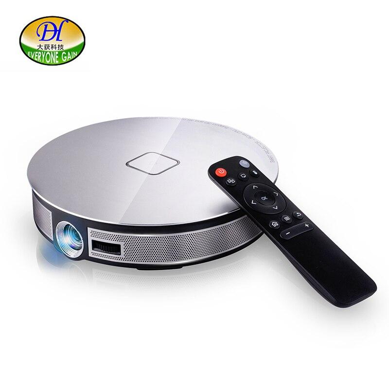 Tout le monde gagne A8S 3D projecteur 1080 P vidéo Full HD DLP Pico Projetor 12000 mAh Projetor Android 6.0 WiFi BT 4 k vidéo projecteur