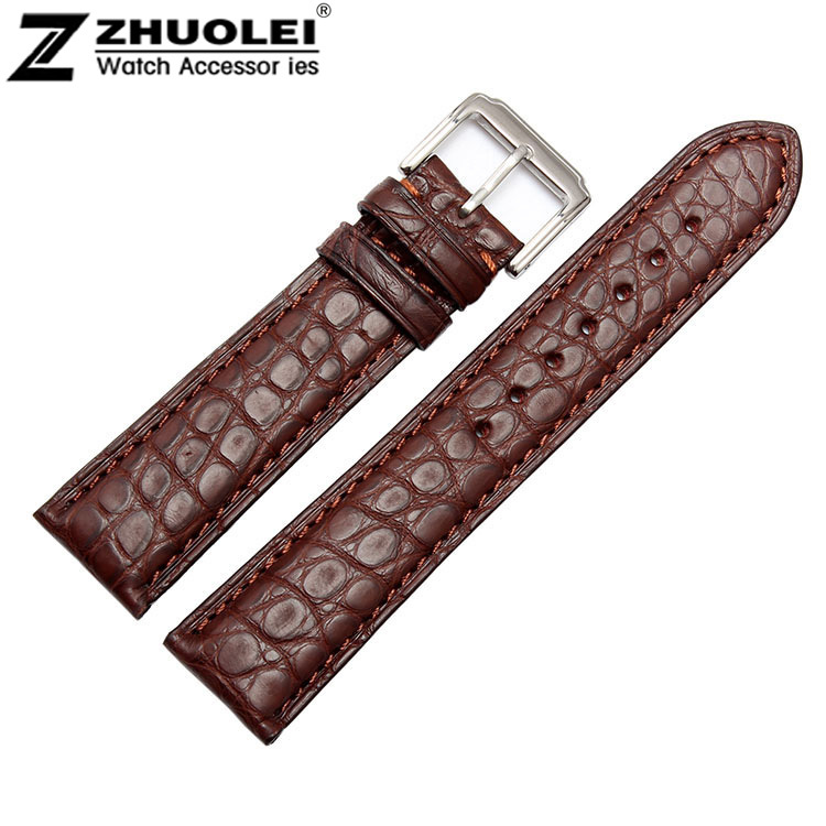 18mm 19mm 20mm 21mm 22mm 24mm Size Available Black/Brown Genuine Alligator Leather Watch Strap Band Silver Steel Clasp Buckle 18mm 20mm 21mm 22mm new mens black brown alligator leather watch strap band deployment watch buckle