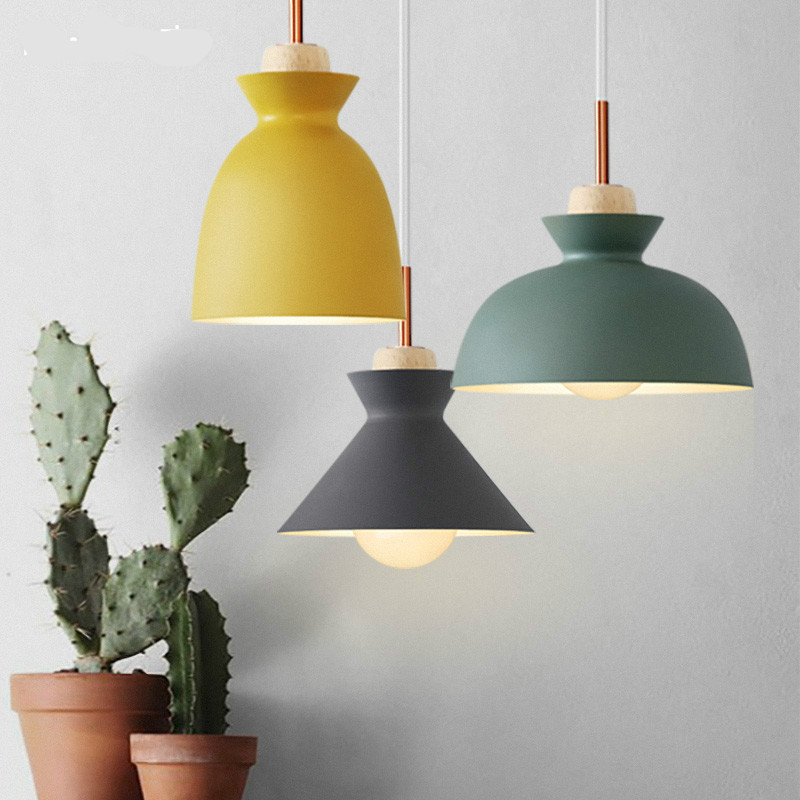 Nordic Modern Minimalist Vintage Wood Aluminum Led E27 Pendant Light For Bar Restaurant Dining Room Deco Lamps 1982 modern nordic 7 colors carved aluminum wood geometric led e27 pendant light for dining room living room bar deco ac 80 265v 1143
