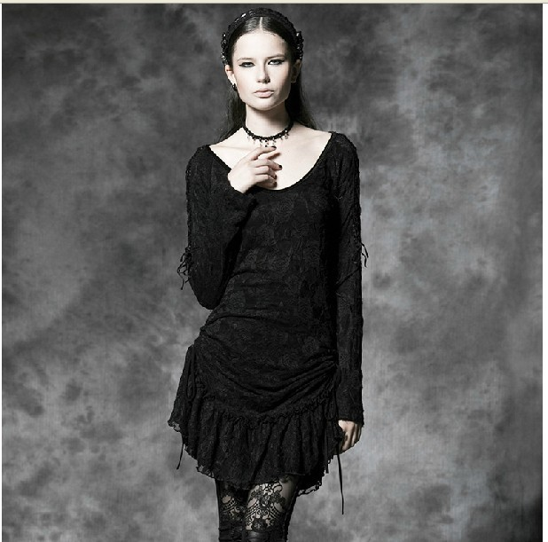 Winter and spring dress New fashion punk gothic dress women long sleeve black lace dress party evening dress,S,M,L,free shipping