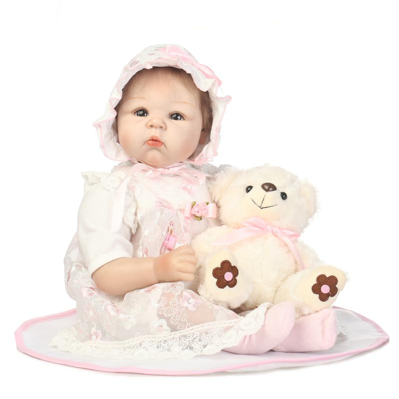 55cm Silicone Reborn Baby Doll Toys Lifelike 22inch Pink Princess Newborn babies Doll With Bear Birthday Gift Present Girls Brin can sit and lie 22 inch reborn baby doll realistic lifelike silicone newborn babies with pink dress kids birthday christmas gift
