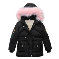 Kids Winter Jacket Girls 2019 New Fur Hooded Warm Thicken Outwear Baby Children 4 8 Years Long Coat Clothes Suits