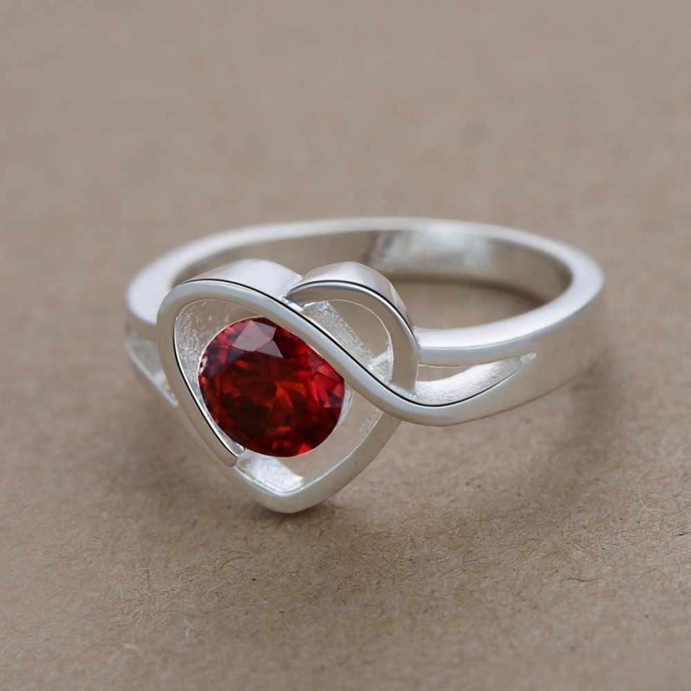 אהבת לב כהה אדום זירקון סיטונאי 925 תכשיטי כסף מצופה טבעת, תכשיטים טבעת עבור נשים,/YUZAMWLQ QZJHQVEX