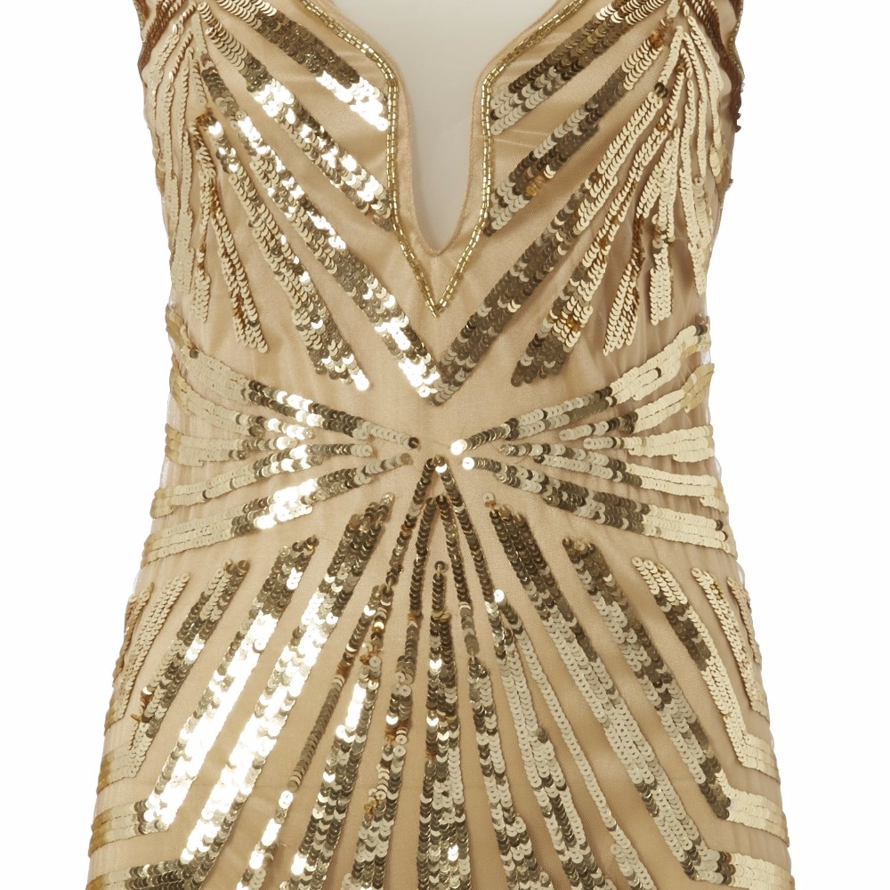 Custom Made Gold Sequin Gown Dresses Dress Great Gatsby Party Kleider Abiye Elbise Beaded Elegant Short Evening In From