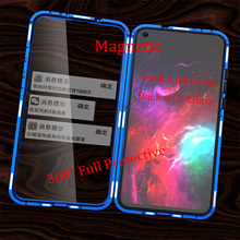 For Huawei Honor View 20 V20 Magnetic Case 360 Front+Back double-sided 9H Tempered Glass for Metal Bumper