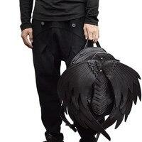 Черный Панк Рюкзак с крыльями ангела для мужчин женщин готическая Черная кожа дьявол рюкзак косплей подарок