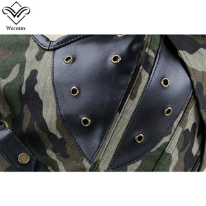Image 4 - Wechery Army Green Corset Military Style Bustier Tops for Women Hollow Out Lace Up Corsets with Choker Camouflage Body Shapers