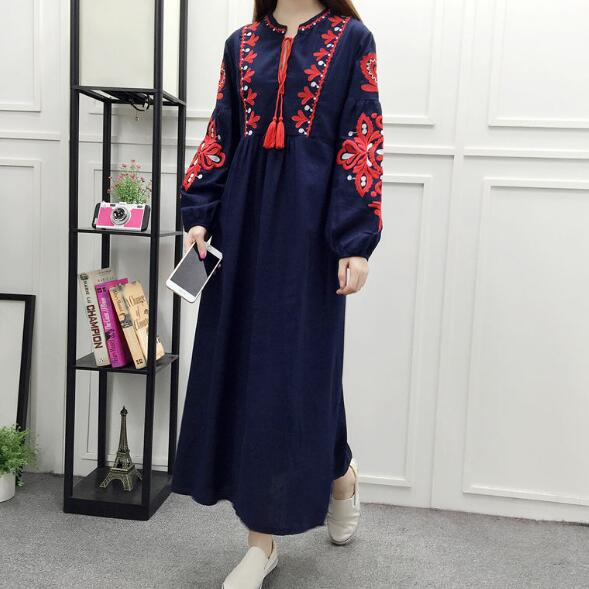 c6be1ac4b1b Floral Embroidered Ethnic Dress Cotton Linen Lantern Long Sleeve Maxi Dress  Black Blue White Loose Long Dress Women AF113-in Dresses from Women s  Clothing ...