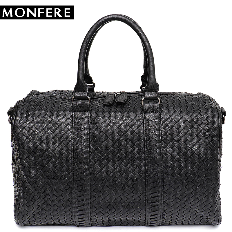 MONFERE Large Capacity Tote Handbag Unisex Messenger&Shoulder Bag Woven Pu Leather Casual Overnight Holiday Suitcase Big Bags картридж epson original t559440 желтый для мфу rx700 515 стр