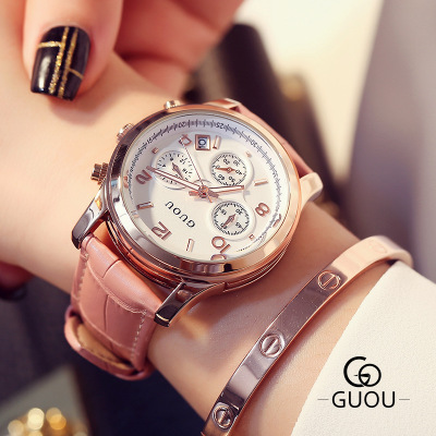 купить Top Brand GUOU Watch Women Famous WristWatch Fashion Three eyes Luxury Women Watches Waterproof Quartz Watch relogio feminino по цене 3028.61 рублей