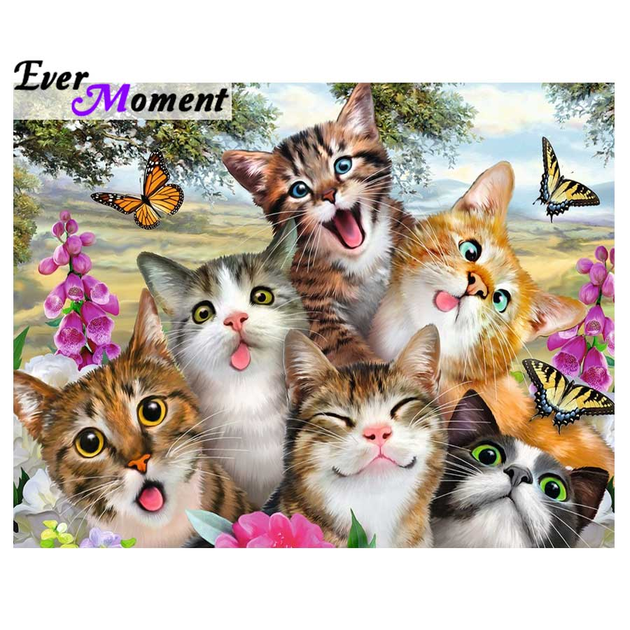 Ever Moment 5D DIY Diamond Painting Cute Cat Group Photo Cartoon 3D Animal Cross Stitch Mosaic Needlework Home Decor ASF1024Ever Moment 5D DIY Diamond Painting Cute Cat Group Photo Cartoon 3D Animal Cross Stitch Mosaic Needlework Home Decor ASF1024