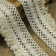 5/10/20/30/40/50 Yards Beige Cotton Fringe Lace Trim 4CM Width Water Soluble Decoration Curtain Home Textile DIY Sewing Craft