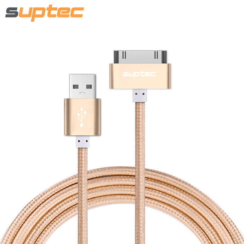 SUPTEC USB-kabel för iPhone 4 4s iPad 2 3 iPod 30-polig metallpluggladdarkabel för iPhone 4 Nylon-kabelladdning datakabel
