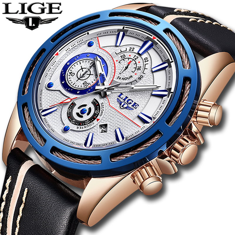 купить LIGE Watch Men's Fashion Quartz Leather Chronograph Clock Mens Watches Top Brand Luxury Waterproof Sport Watch Relogio Masculino по цене 1978.59 рублей